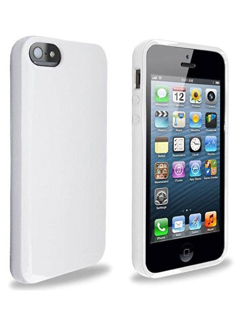 Microsonic Glossy Soft Kılıf iPhone  5 & 5S Beyaz Renkli